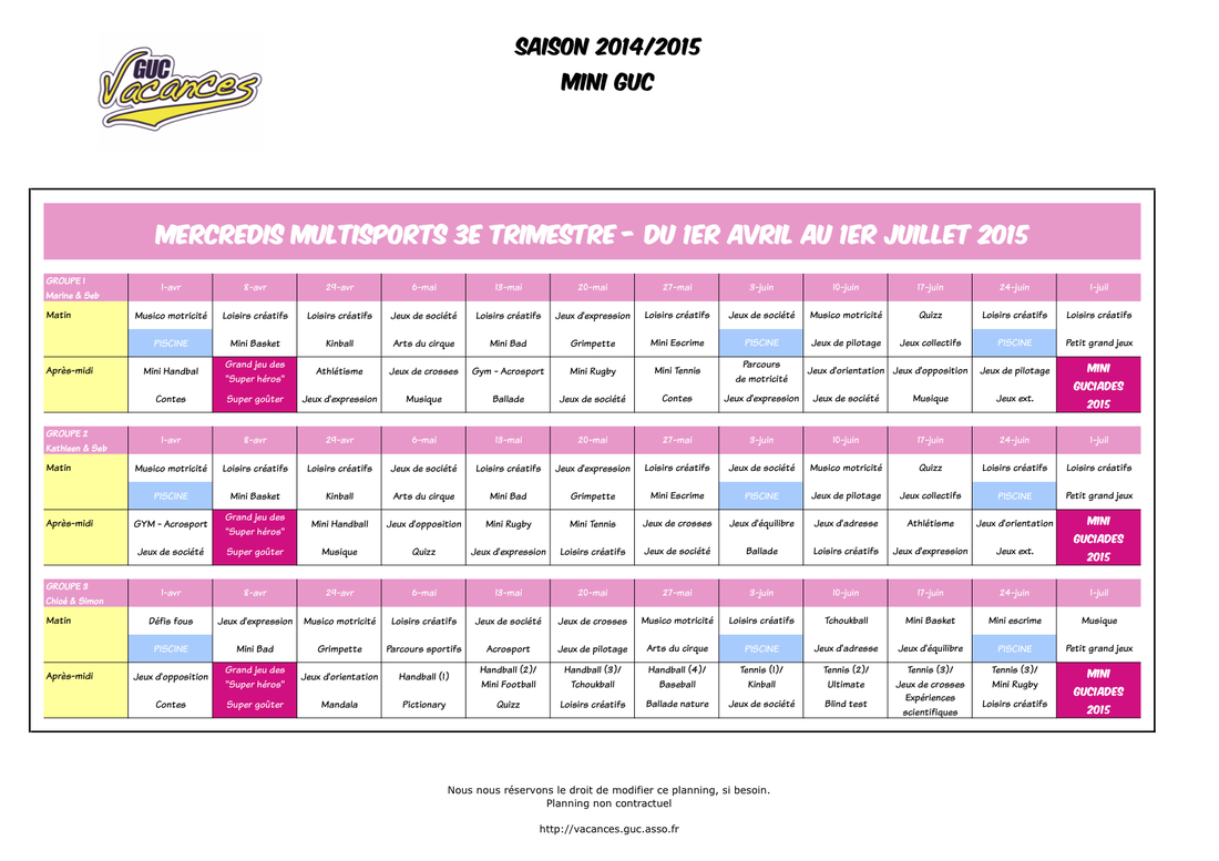 mercredis multisports 3e trimestre - planning mini guc